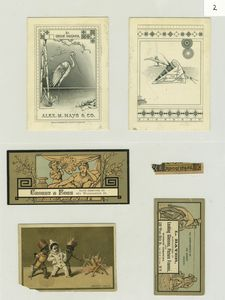[Trade cards depicting storks, fans, children, fire, men, knives; store locations include 31 Union Square, 132 West 25th Street and 375 Broadway.]