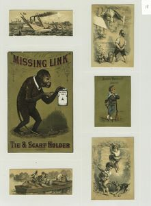 [Trade cards depicting a monkey, boat race, couple fishing from a rowboat, a gun, climbing fences, stealing fruit and a dog chasing boys.]
