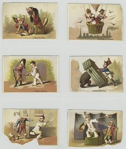 [Cards depicting a mask, hot air ballooning, a man dropping a casket on a bear and a jester performing the following acts on men : cutting the tails of a coat, cutting off a head and pulling off a wig.]