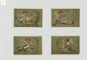 [Cards depicting angels in a tree branch, feeding babies, reading, birds, hammer, chisel, butterflies, bow and arrow.]