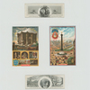 [Trade cards depicting birds, landscapes, a mill, the fall of Bastille and Bastille Day.]