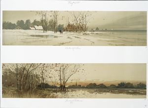 Winter by the Sea; Coming of Autumn [prints depicting winter landscape along the seashore; fall landscape with leaves falling from trees].