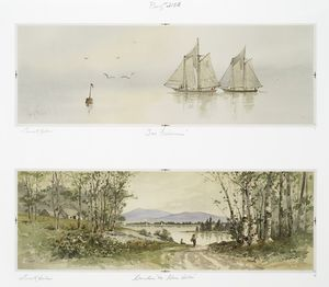 Two Fishermen; Camden Me. Blue Hills [prints depicting fishermen on sailboats, coastal landscape with trees, mountains, and houses].