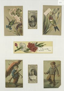 [Trade cards depicting hummingbirds, flowers, children, ice and an umbrella ; cigarette cards entitled 'between the acts & bravo' of Emma Celia Thursby and Etelka Gerster.]