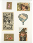 Trade cards depicting men, women, portraits of children wearing hats, a frog, a fan, the moon, plants, horseback riding and a couple cooking fish.