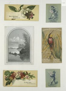 [Trade cards depicting men, a woman, flowers, a bird, corn, a canoe, a river, a broom and advertisements.]