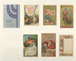 Trade cards and calendars depicting flowers, wine, a table setting, a map, a bird, a Danish woman, a man hunting in Alaska, a man riding a horse, a scientist inspecting Duffy's malt whiskey and a mammy holding an infant with a man's head.