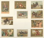 Cards depicting horseback riding, horse drawn carriages, China, a boy delivering a letter, a couple missing the train, a figure riding a turkey and a dog and children with baskets by telephone poles.