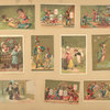 [Trade cards depicting playing cards, children, adults, jesters, soldiers, dragon flies, jars of meat, a well, a couple, a dog, gardening, fishing and a boy dressed as a bird.]