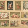 [Trade cards depicting children, a newspaper, a butterfly net, butterflies, a kitchen, coffee liqueur, a bench, a dog, travelers, courtship, a waiter, dining and the Seine-et-Oise department of France and it's products.]