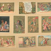 [Trade cards depicting children, men, women, couples, courtship, coffee liqueur, a train, a carriage, travelers, a picnic, a sword, wheat harvesting, the island Martinique and it's resources.]
