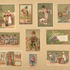 [Trade cards depicting children, women, men, soldiers, musicians, a fairy, the Queen of Hearts, playing cards, toys, flowers, a well and a cat.]
