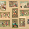 [Trade cards depicting children, men, dogs, a newspaper, a cupid, chess pieces, flowers, jump roping, a cooking accident and Germany.]
