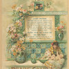 An advertisement for Pear's Soap depicting a mother washing her baby, a bowl, tiles, vases and flowers.