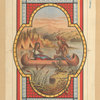 [A print depicting a Native American man, a woman, a canoe, a river, tepees, mountains and decorative ornamentation.]