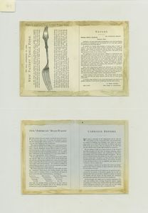 [Trade cards depicting storks, birds, boats, umbrellas, bodies of water, insects, lily pads and bamboo.]