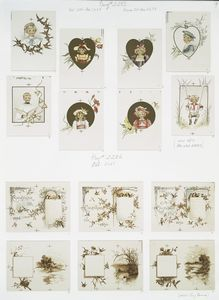 [Valentines, Christmas cards and calendars for 1894 depicting children, hearts, lockets, swings, flowers, bells, birds, hats, landscapes, trees, houses and holly.]