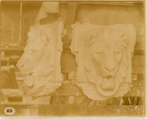 [Plaster models of a lion's head.]
