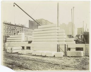[Exterior marble work : construction of the west facade, looking northeast.]