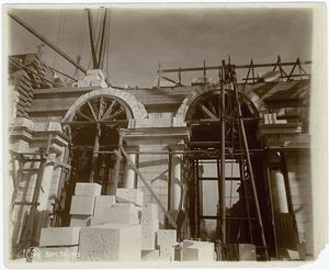 [Interior work, Astor Hall : construction of arches and walls.]