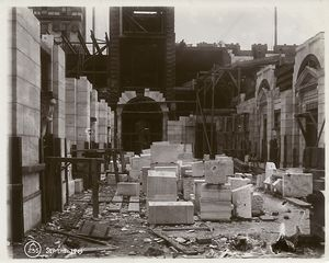 [Interior work : construction of the Fifth Avenue portico (?).]