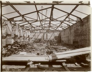 [Interior work : structural framework of the roof at the northeast corner of the building, looking north.]