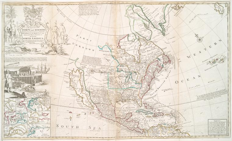 This map of North America according to ye newest and most exact observations is most humbly dedicated by your Lordship's most humble servant / Herman Moll, geographer ; B. Lens delin. ; G. Vertue sculp.