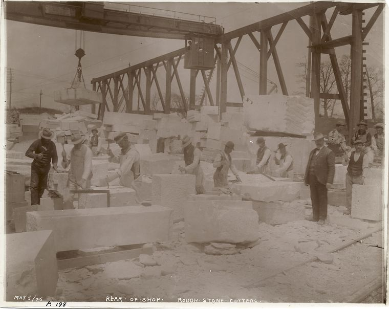 Rear of shop, rough stone cutters, [Port Morris marble yard].
