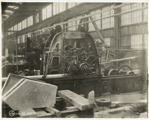 [Moulding machine in a marble yard in Long Island City.]