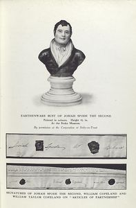 "Earthenware bust of Josiah Spode the Second; Signatures of Josian Spode the Second, William Copeland and William Taylor Copeland on ""Articles of partnership""."