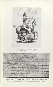 "An officer in review order (Royal Pottery Volunteer Cavalry); Portion of ""Cavalry Inrollment"" dated 27th April, 1798."
