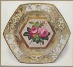 "Hexagonal plate. (With three transverse indentations dividing border into six compartments. The central panel with deep gold frame decorated with roses in the Billingsley manner. Border decorated with floral sprays gilded, and in white in relief. Marked ""SPODE"" 2057 in red.)"