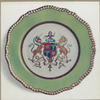 Felspar porcelain plate. (Part of a service at the Goldsmith's Company decorated with the Arms of the Company in colours and gilded. Having apple-green border with gadrooned edge.)