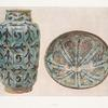 Case A,1. Syrian Albarello, turquoise and black. Height, 12-1/4 in.; diam., 6-3/4 in., 13th c. ; Case A,7. Bowl, turquoise and black. Height, 4-1/4 in., diameter, 10 in., 13th c.
