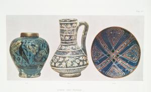 Case A,4. Syrian oliform vase, black and turquoise. Height 5-1/2 in., 13th c.; Case A,2. Syrian jug, ornament in slight relief. H. 7-1/4 in., 13th c. ; Case A,16. Persian bowl, with blue glaze. Diameter, 6-5/8 in., 13th c.