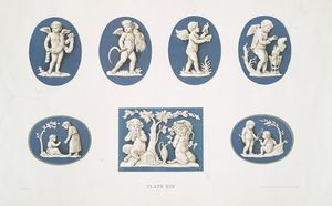 Four medallions: cupids as the four seasons. Heights, 3-1/2x2-3/4 in. each. Probable date, 1788 ; Three medallions: children. Probable date, 1778.