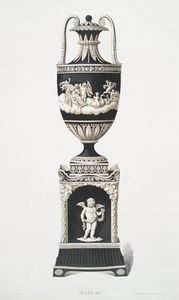 A black and white vase and pedestal. (Vase measures 12, pedestal 7 inches in height.) Date about 1790.
