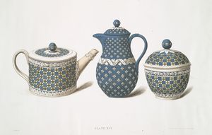 Three déjeûner pieces with quatrefoil ornaments. (Teapot - 3-1/2 in. and sugar-bowl - 4-1/2 in., date about 1789; chocolate-pot - 6 in., date about 1793.)
