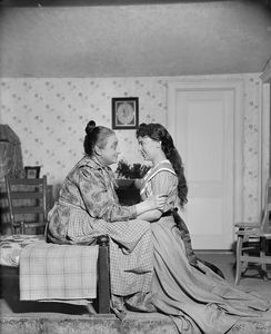 Helen Westley (Aunt Eller Murphy) and June Walker (kneeling) as Laurey Williams.