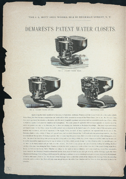 Demarest's patent water closets. No. 1 Closet with trap - No. 2 Closet with offset - Sectional cut.