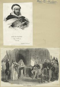 A sheet with two images of Abd-el-Kader.
