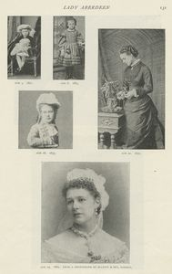 [A leaf with seven portraits of the Lady Aberdeen, with dates ranging from 1860-1886.]