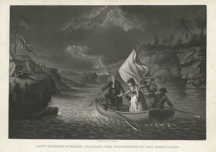 Lady Harriet Ackland claiming the protection of the Americans.
