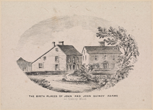 The birth places of John and John Quincy Adams at Quincy Mass.