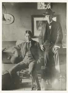 George Ade and John McCutcheon about 1894 or 1895 ; this photostat positive was made 20 November 1933 from a faded photograph given by Frederick Richardson 13 November 1933.
