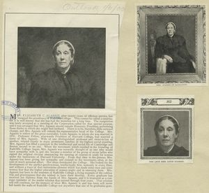 [A sheet with three portraits of Elizabeth C. Agassiz.]