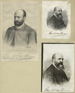 [A sheet with five portraits of Pedro Antonio de Alarcon.]