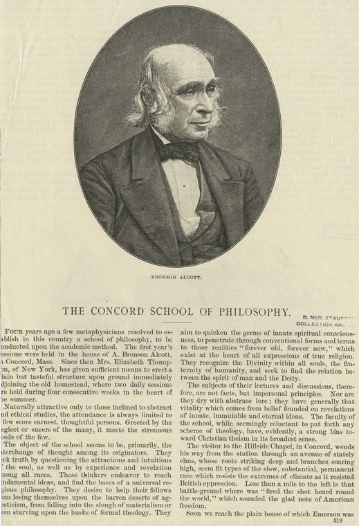 The Concord School of Philosophy : Bronson Alcott.