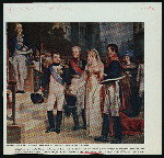 Napoleon receives the Queen of Prussia at Tilsit, July 6, 1807 upon her arrival for the signing of the peace treaty between France and Prussia. Also shown in the group are Talleyrand, Czar Alexander of Russia, King Frederick William III of Prussia.