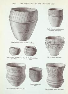 [Vessels from the ancient British barrows: Fig. 6-13. (Illustrations to the T. Sheppard's article.).]